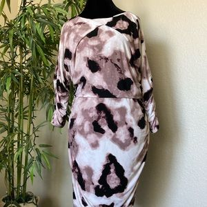 JLO Pink Leopard 3/4 Sleeve Ruched Dress Size XL